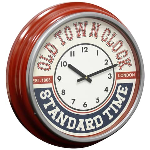 StyleCraft Semi-Gloss Red Round Old Town Standard Wall Clock with Glass Front