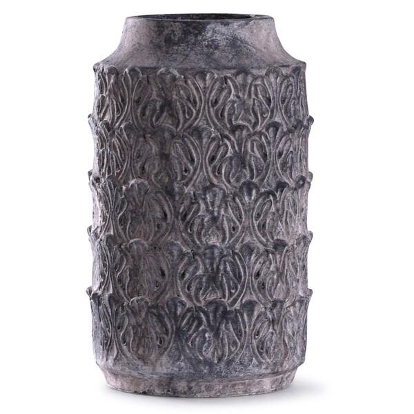 Binani 19-inch Charcoal Decorative Concrete Cylinder Vase