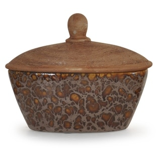 Pepperfield Oxide Brown Textured Ceramic Box with Lid