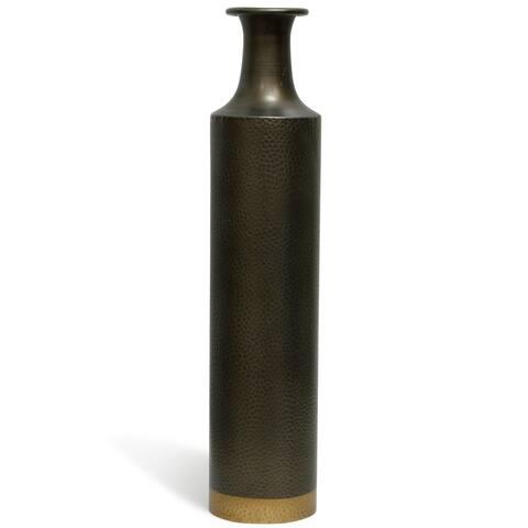 StyleCraft Zara 24-inch Oil Rubbed Bronze Hammered Metal Cylinder Vase with Brass Trim