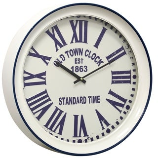 Round Old Town Semi-Gloss White and Blue Wall Clock with Roman Numerals and Glass Front
