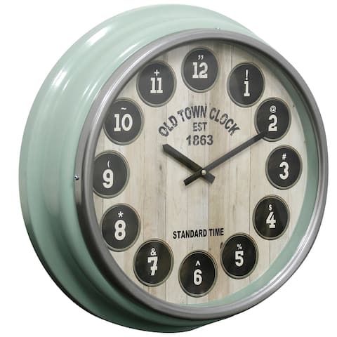 StyleCraft Gloss Green Round Old Town Wall Clock with Glass Front