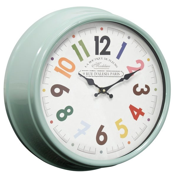 Semi-Gloss Green Round La Boutique Wall Clock with Glass Front