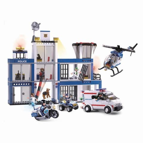 SlubanKids Police Station, Helicopter, Motorcycle, K9 Dog, Building Blocks 540 Pcs set Building Toy Police Headquarters