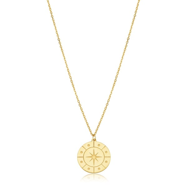 14K Yellow Gold Record Pendant on an Adjustable 14K Yellow Gold Chain Necklace