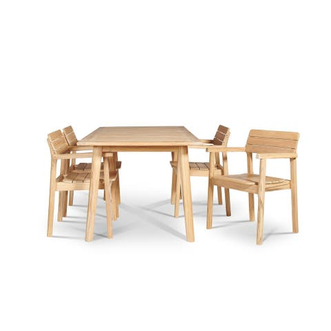Modurn 5-Piece Rectangular Teak Table Outdoor Dining Set with Stacking Armchairs