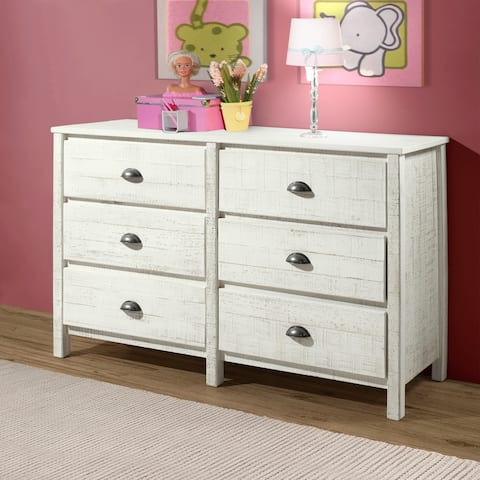 Taylor & Olive Cornelia 6-Drawer Wood Chest of Drawers, Rustic White