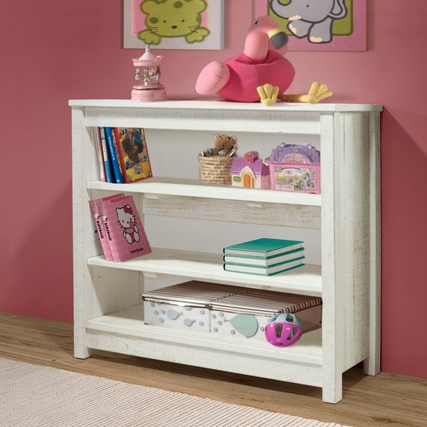 "Taylor & Olive Cornelia 35""H 3-Shelf Bookcase, Rustic White. Opens flyout."