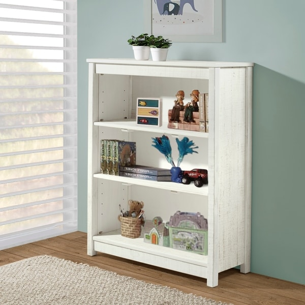 """Taylor & Olive Cornelia 49""""H Wood Tall 3-Shelf Bookcase, Rustic White. Opens flyout."""