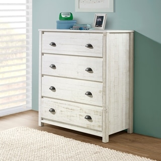 Link to Taylor & Olive Cornelia 4-Drawer Wood Chest of Drawers, Rustic White Similar Items in Kids' Dressers
