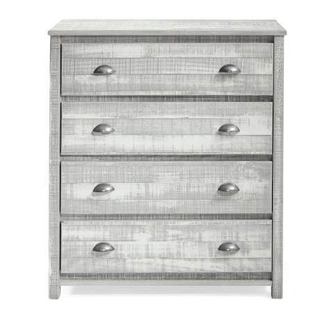 Taylor & Olive Cornelia 4-Drawer Wood Chest of Drawers, Rustic White