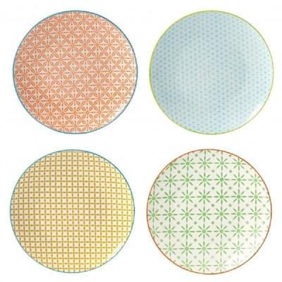 4 Piece Dessert Plate Set - Color