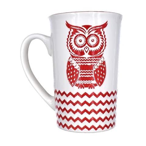 Retro Style Red Owl Tall Coffee Mug 16oz (Set of 2)