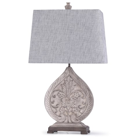 StyleCraft Elstree Distressed Off White Carved Floral Teardrop Table Lamp with Gray Tapered Rectangle Shade