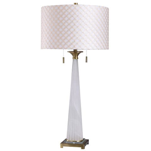 StyleCraft Sona Brushed Gold with White Ribbed Glass Tower Table Lamp with Lattice Textured Drum Shade