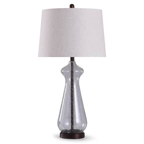 StyleCraft Allen Oil Rubbed Bronze with Clear Seeded Glass Table Lamp with Oatmeal Tapered Drum Shade