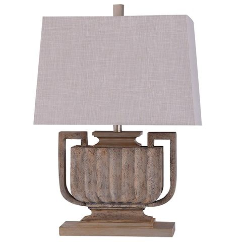 StyleCraft Wembley Stone Brown Ribbed Urn Table Lamp with Oatmeal Tapered Rectangle Shade
