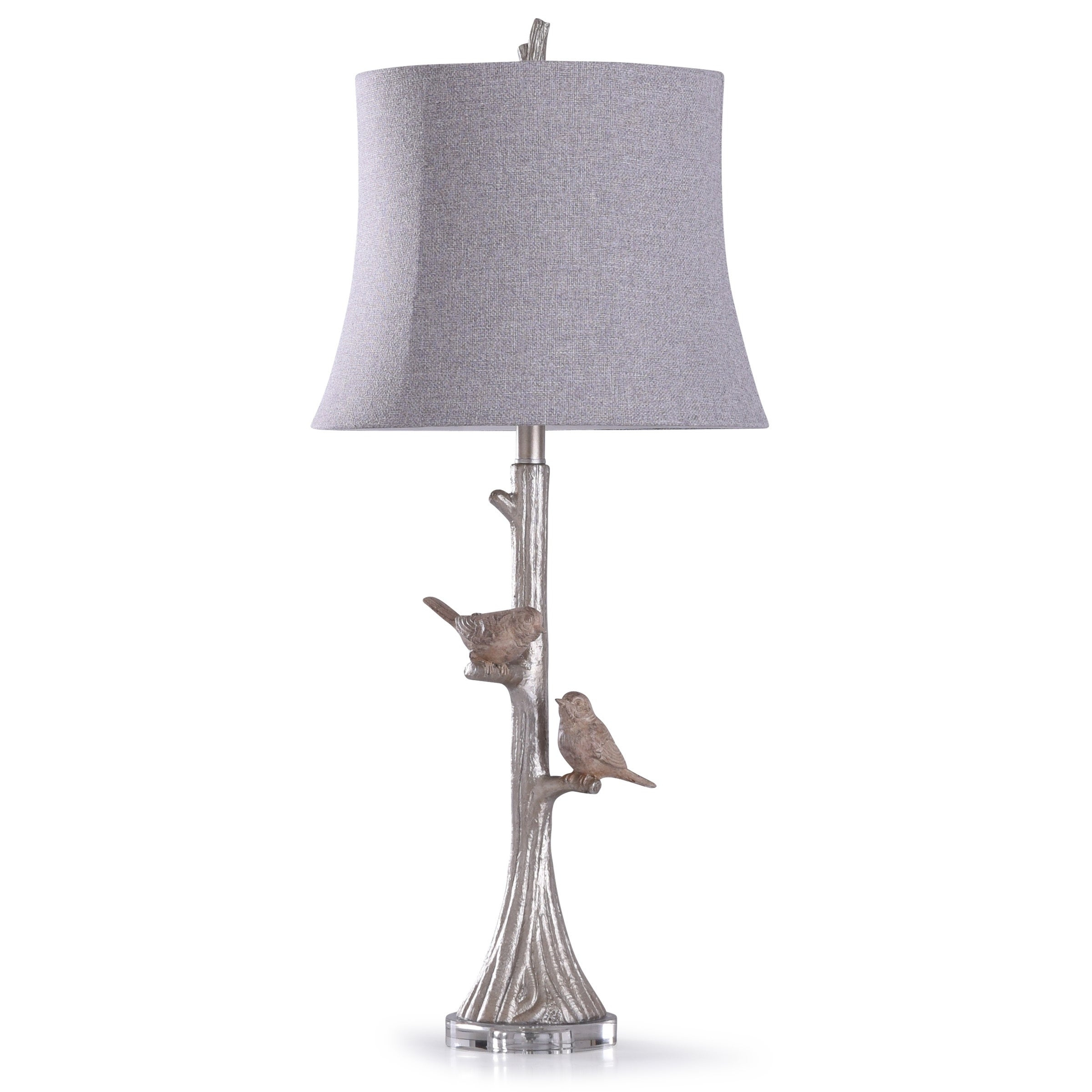 Shop Galah Silver Carved Two Birds Table Lamp With Clear Crystal