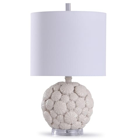 StyleCraft Aibion Cream and Clear Carved Urchin Lamp with Acrylic Base and White Drum Shade