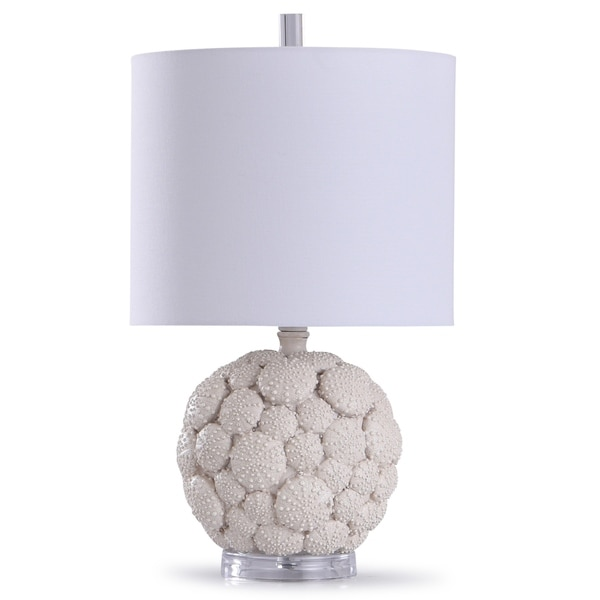 StyleCraft Aibion Cream and Clear Carved Urchin Lamp with Acrylic Base and White Drum Shade. Opens flyout.