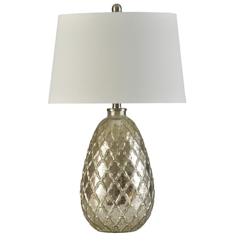 StyleCraft Mercury Glass with Embossed Glass Filigree Pattern Body and Off-White Tapered Drum Shade Table Lamp