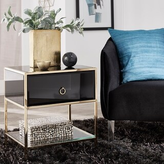 Cantey 1-Drawer Black Glass Side Table by iNSPIRE Q Bold