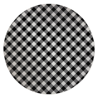DIAGONAL BUFFALO PLAID BLACK & WHITE Area Rug By Kavka Designs