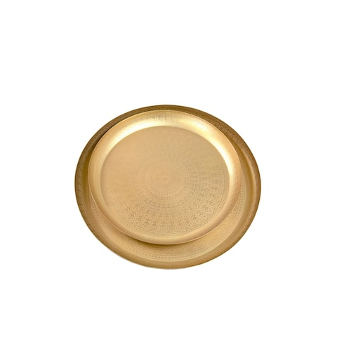 East at Main Mai Round Metal Trays, Gold