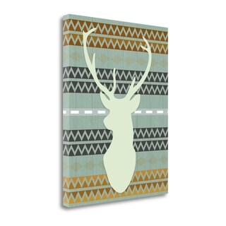 """Green Tribal Deer Head"" By Tara Moss, Fine Art Giclee Print on Gallery Wrap Canvas, Ready to Hang"
