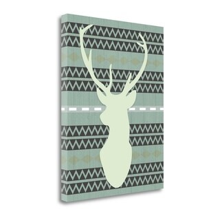 """Green Tribal Deer Head On Gray"" By Tara Moss, Giclee on Gallery Wrap Canvas"