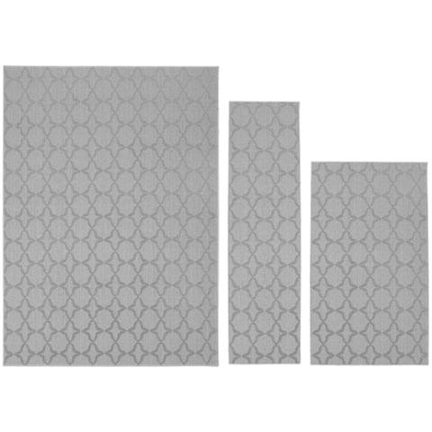 """Sparta 3pc Area Rug Set (5'x7', 3'x4', 24""""x60"""") Silver - 3' x 4'/24"""" x 60""""/5' x 7'"""