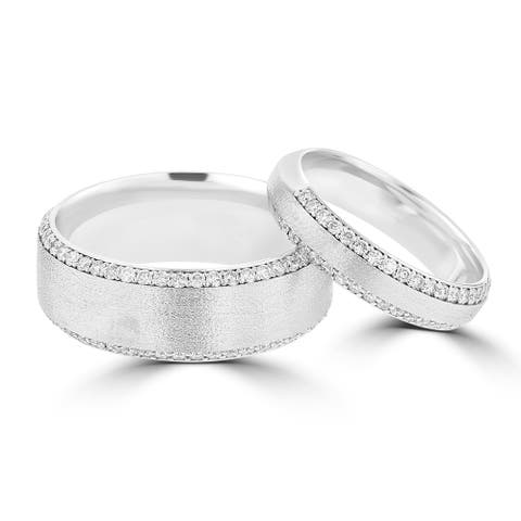 14 Karat White Gold Diamond His & Her's Ring Set - White G-H