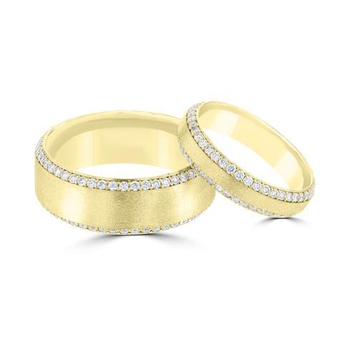14 Karat Yellow Gold Moissanite His & Her's Ring Set - White