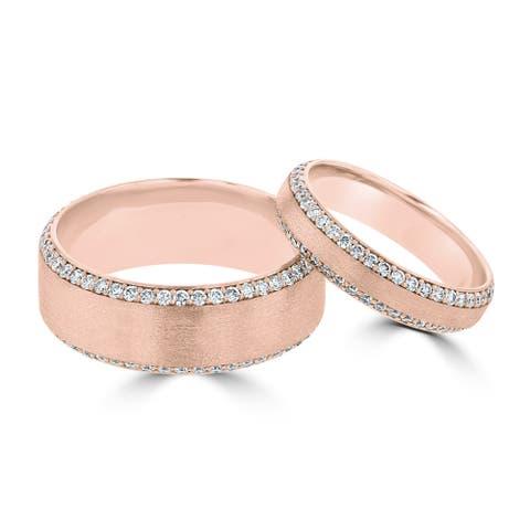 14 Karat Rose Gold Diamond His & Her's Ring Set - White G-H