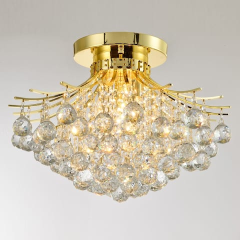 French Empire 3-Light Gold Crystal Flush Mount Ceiling Light 19 in. D x 14 in. H Round Large - Large Flush Mount