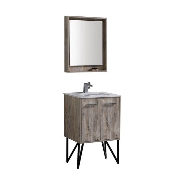 "Bosco 24"" Modern Bathroom Vanity w/ Quartz Countertop and Matching Mirror"