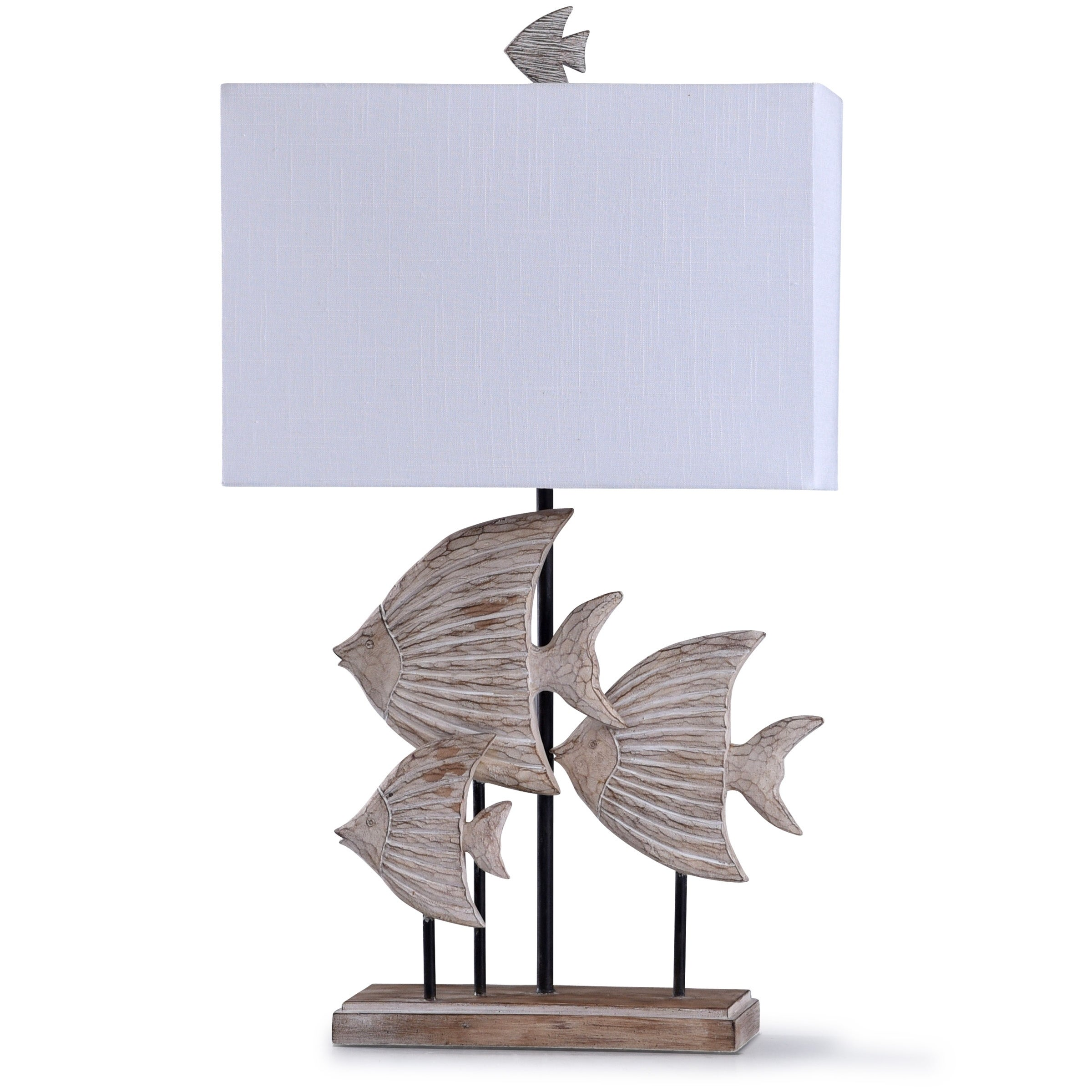 Wood Carved Fishes Table Lamp