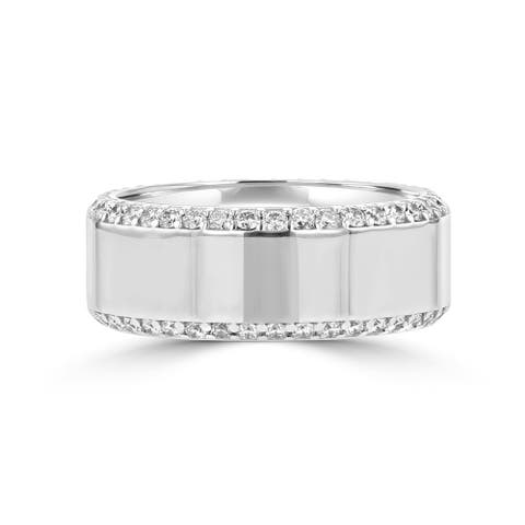 .83ct TDW 14 Karat White Gold Men's Moissanite Ring