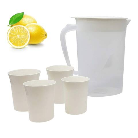 Lavo Home 1 Liter & 4 Cups Pitcher Set - Transparent and Off-White/Cream Lid and Cups - Perfect for Outdoor & Indoor Use