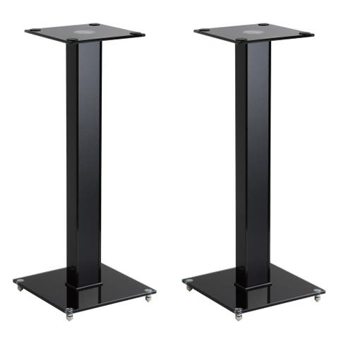"""CorLiving 29"""" Gloss Black Fixed Height Speaker Stand, Set of 2"""