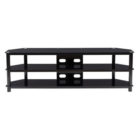 """CorLiving Black Gloss TV Bench with Open Shelves up to 82"""""""