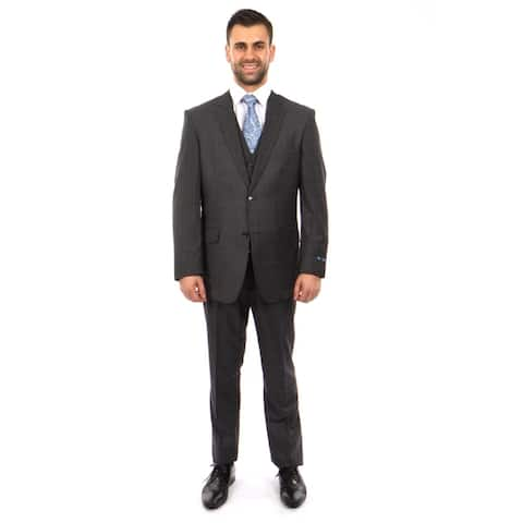 3 PC Wool Suits Classic Solid Texture Windowpane Wool Suits