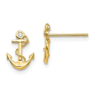 Link to Curata 14k Yellow Gold Madi K Cubic Zirconia for boys or girls Anchor Post Earrings Similar Items in Earrings