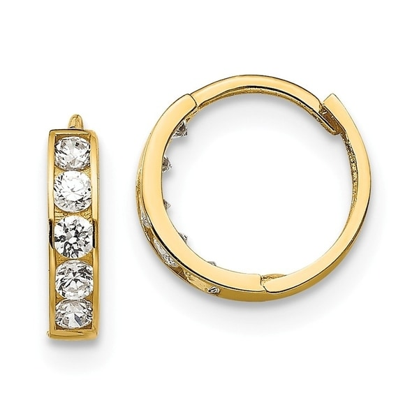 Curata 14k Yellow Gold Madi K Cubic Zirconia for boys or girls Hinged Hoop Earrings. Opens flyout.