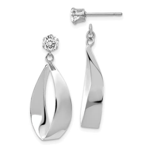 Curata 14k White Gold Surgical steel post Polished Oval Dangle with Cubic Zirconia Stud Earrings Jackets