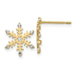 Link to Curata 14k Yellow Gold Madi K Cubic Zirconia for boys or girls Snowflake Post Earrings Similar Items in Earrings