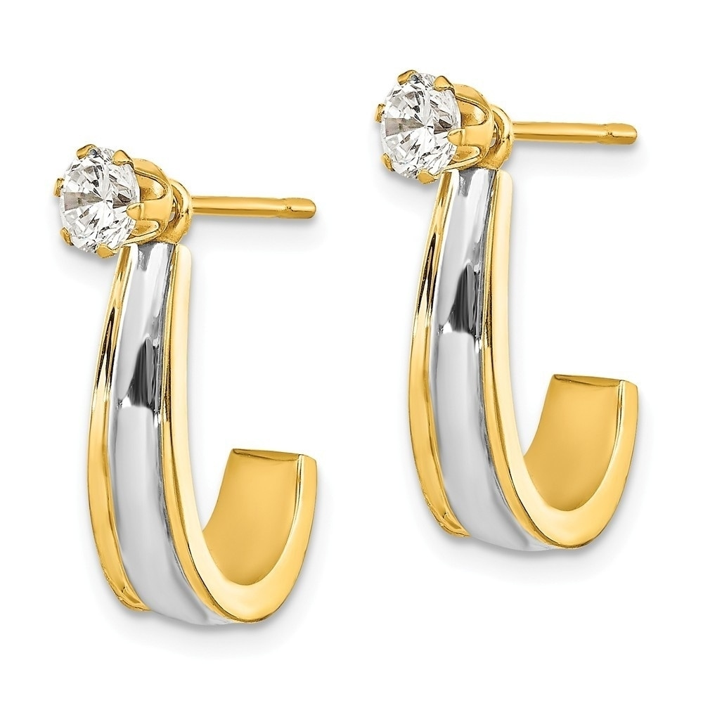 Real 14kt Two-tone J Hoop with CZ Stud Earring Jackets