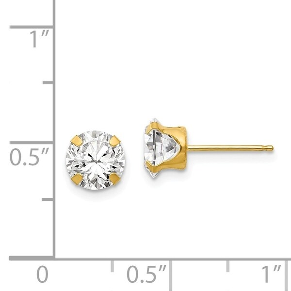 1Carat tw Solid 14K White Gold AAA CZ Stud Earrings 5mm