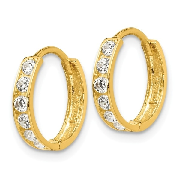 14K Yellow Gold Madi K CZ Oval Children Post Earrings