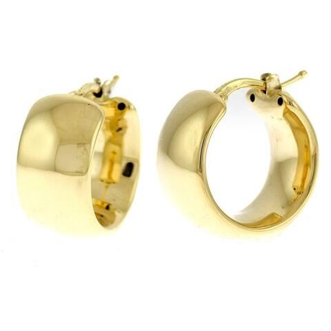 Curata Italian Real 18k Yellow Gold Wide Polished Hoop Earrings for women (10mm x 20mm)